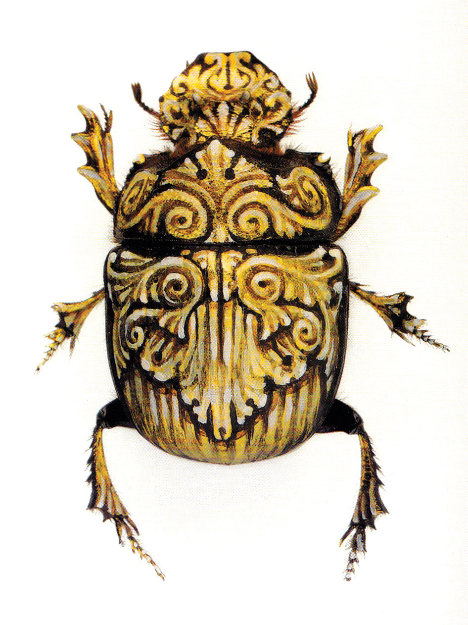 "Her Majesty.  2005 - acrylic on beetle. 2"" x 1""."