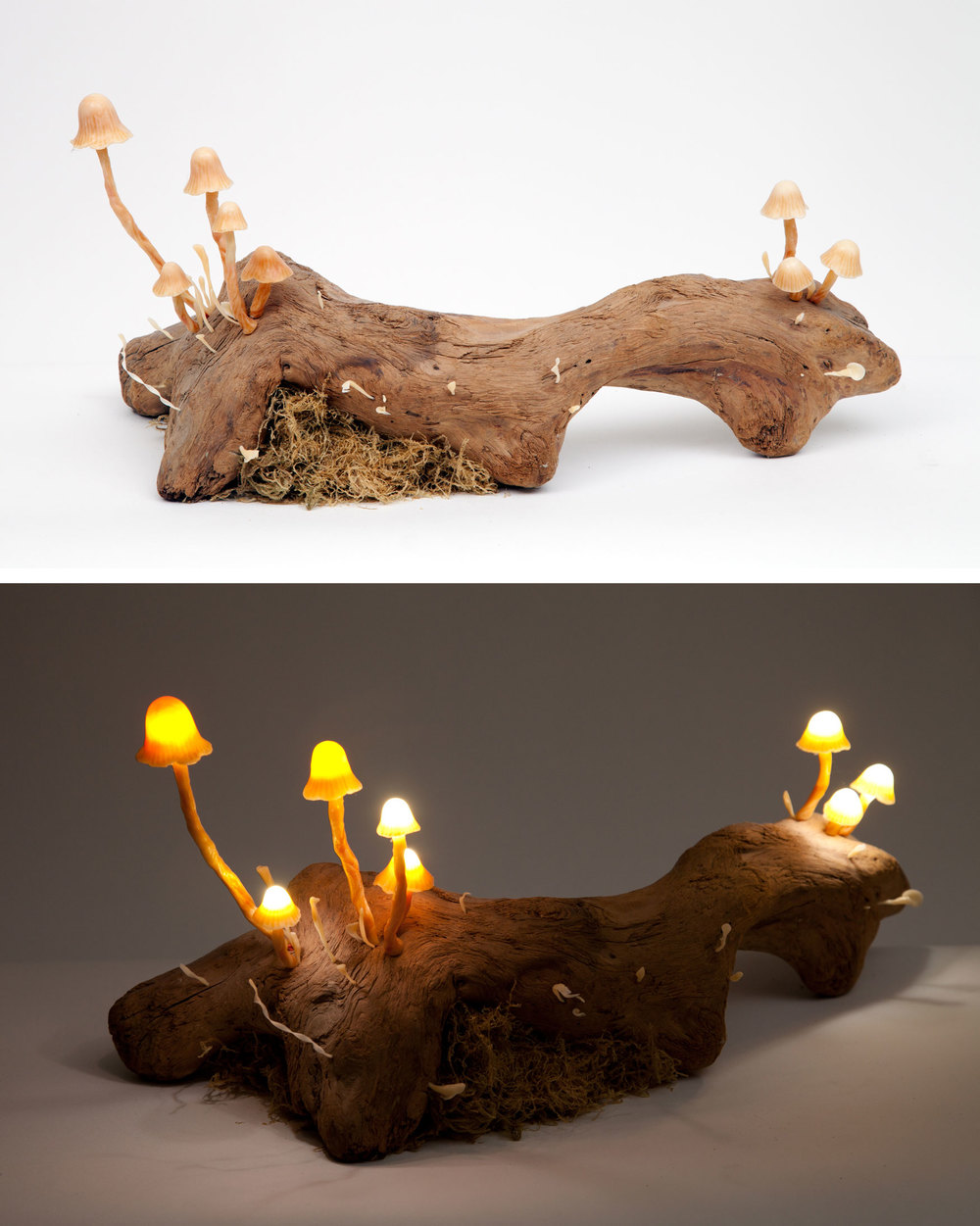 "Untitled (mushroom lamp).  2014 - plastic and LED lights on antique wood. 11"" x 23"" x 7""."