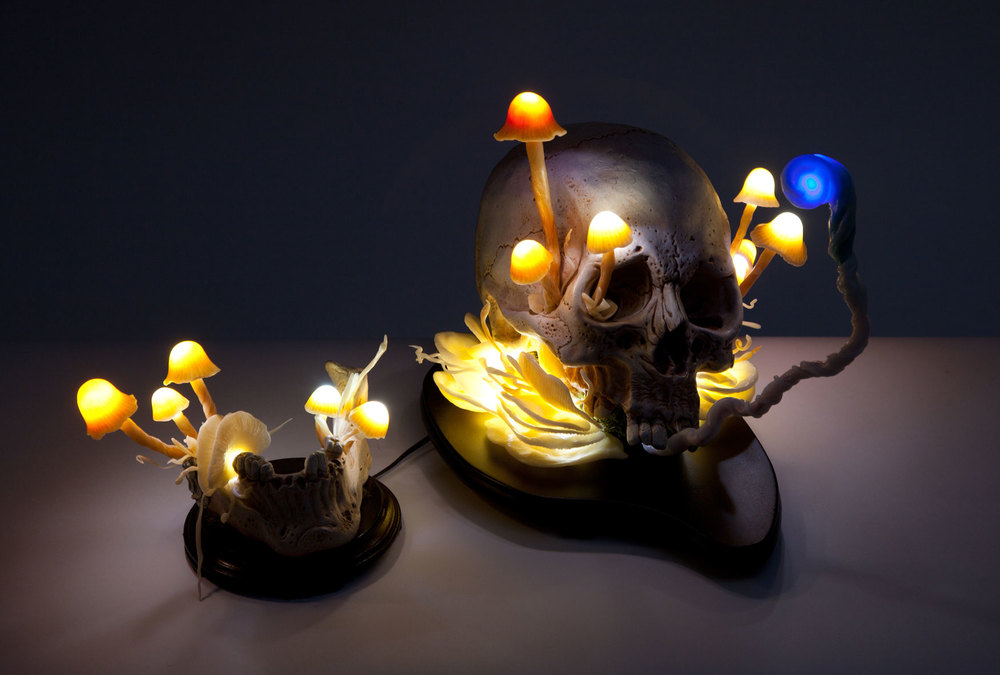 "Nozarashi Lamp.  2014 - epoxy clay, plastic, acrylic and LED lights. 9"" x 7"" x 10""."