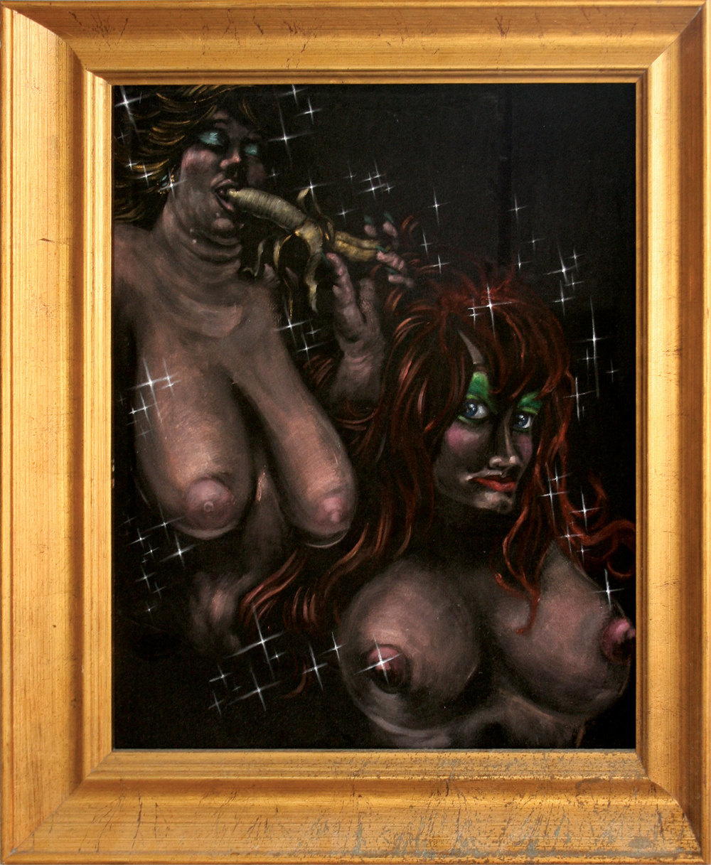 Christopher Brand & Mackie Jurray.  Fantasies?   2007 - acrylic on velvet. 2' x 1.5'.