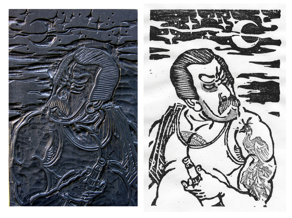 "Untitled (Borracho):108 Heroes of Los Angeles series.  2013- hand carved woodblock and print on paper. 4"" x 6""."