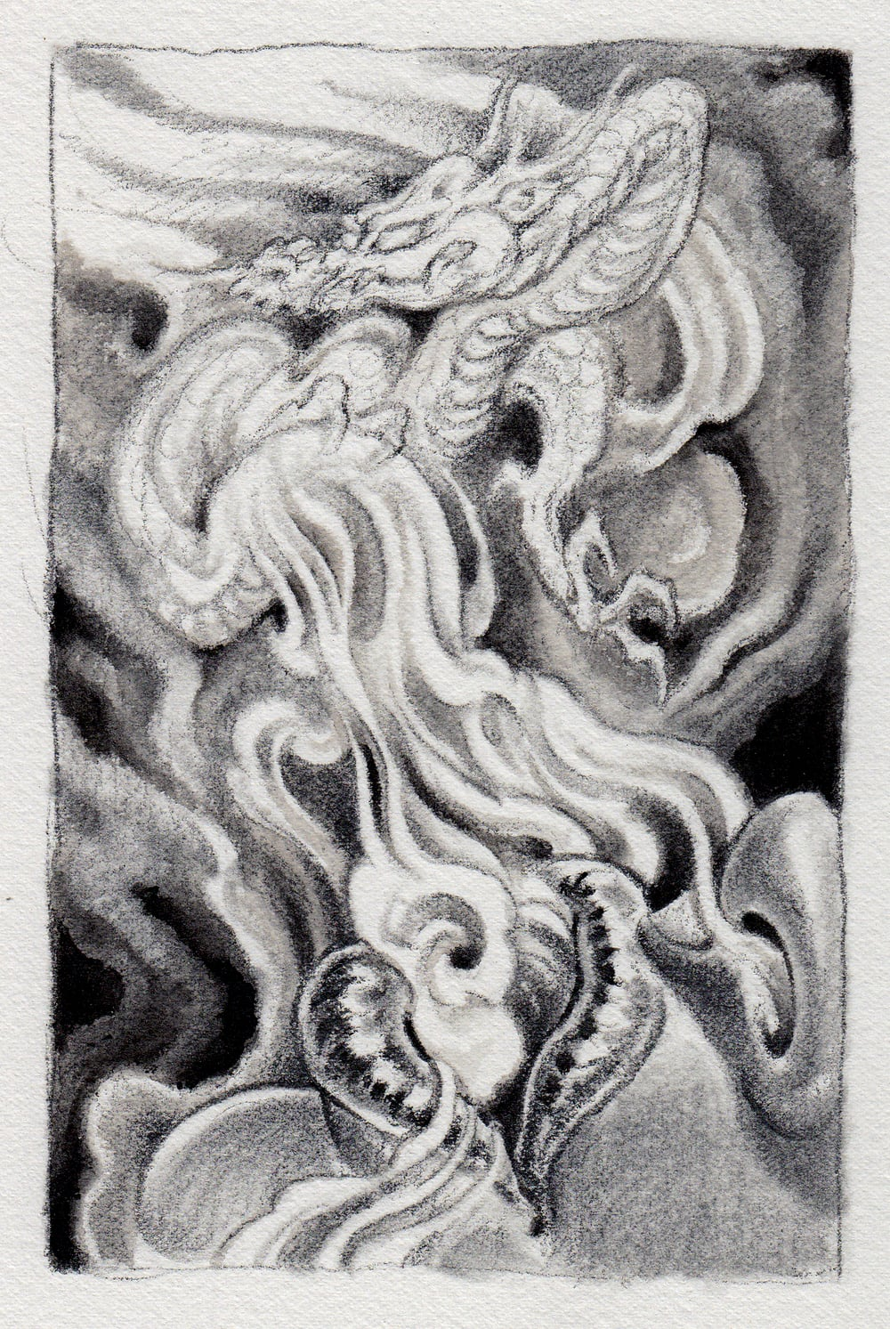 "Exhale . 2012 - graphite and watercolor on paper. 4"" x 6""."
