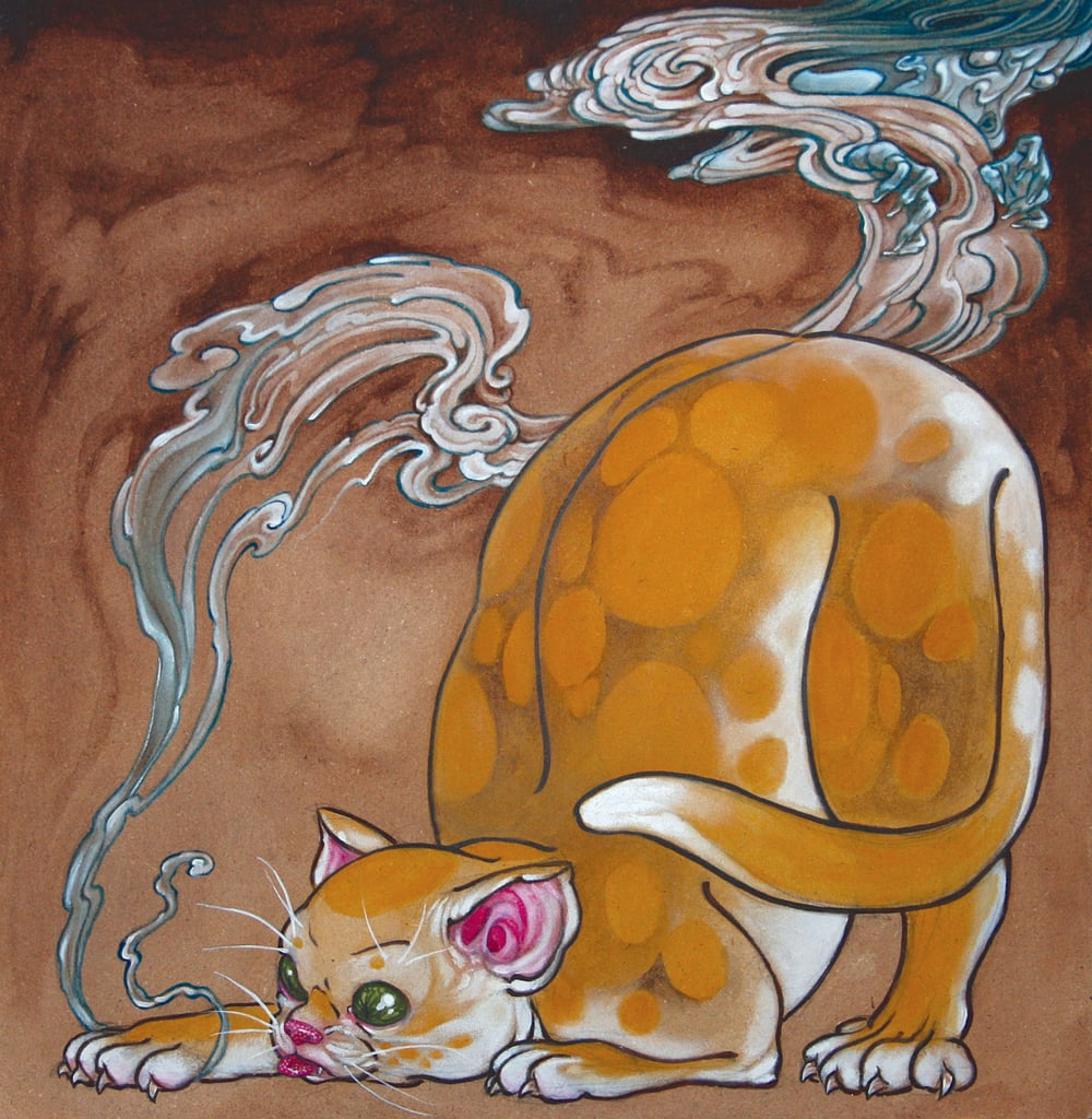 "Untitled (cat catches ghost) . 2009 - acrylic on board. 12"" x 12""."