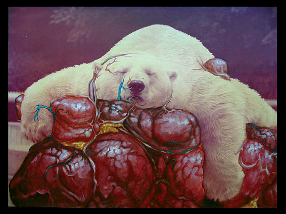 "Bear Hug . 2001 - acrylic on photograph. 10"" x 12""."
