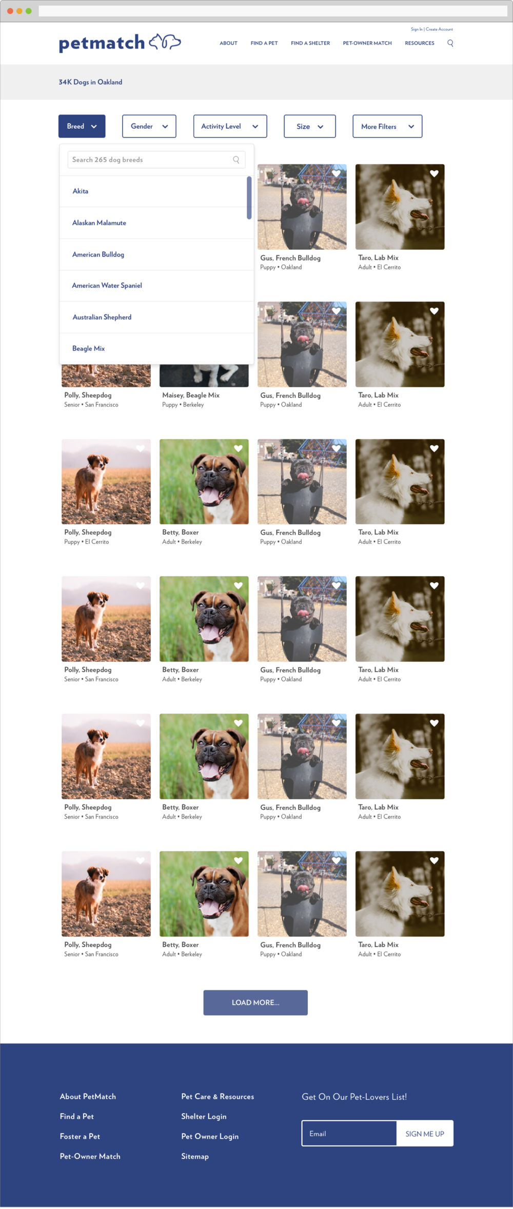 PET SEARCH PAGE  - Users can search through pets in their area using filters including breed, activity level, gender, and more.