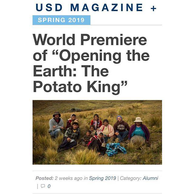 Thanks Univeristy of San Diego Magazine! Go Toreros! . . . #usd #usdmagazine #openingtheearth #thepotatoking #worldpremiere #sbiff #article #press #comingsoon #documentary #shortdocumentary #documental #universityofsandiego #gotoreros #usdalumni #aasd #livingthedream