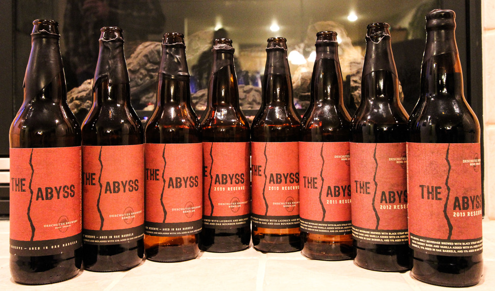 A rare vertical collection of The Abyss. Photo submitted by Deschutes Brewery.