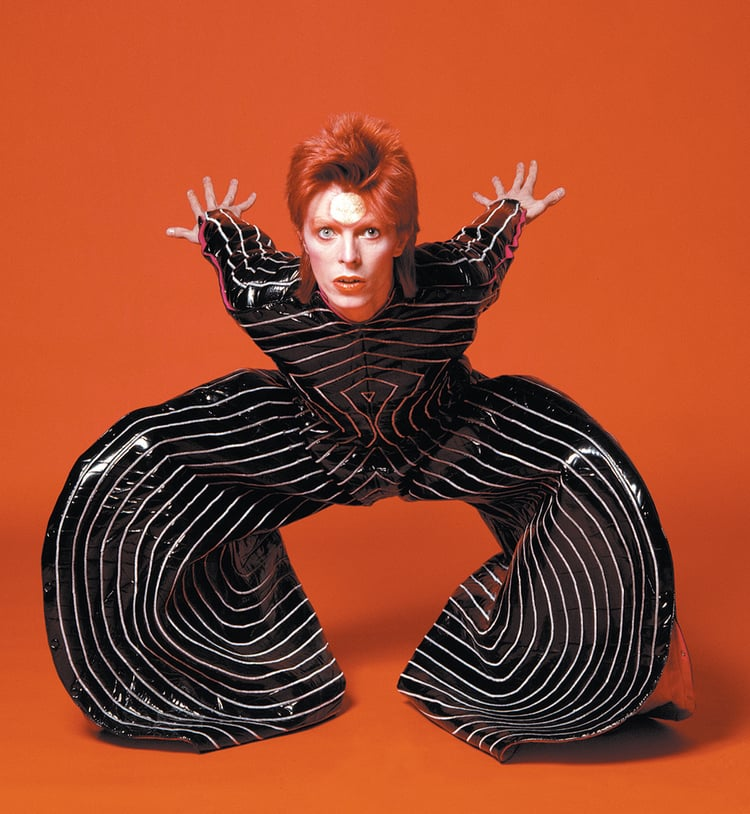 Image Source Bowie wearing the Tokyo Pop bodysuit from his Aladdin Sane tour, 1973