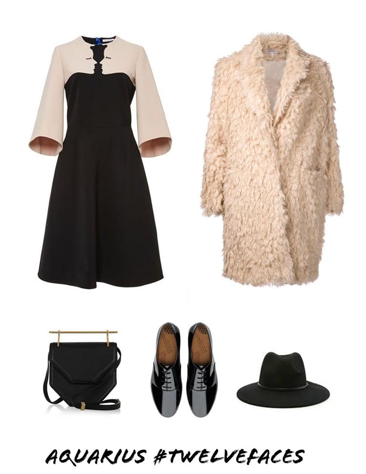 Courtesy of  jacquelyn Tierney |Image sources/Featured above: Vivetta Hemingway Cahsgora Dress  ,  Elizabeth and James Faux Fur Coat  ,  M2Matellier Bag  ,  Black Patent Oxfords  ,