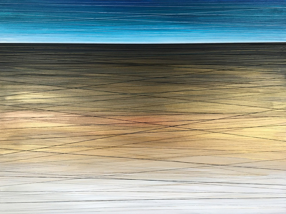 Gilded Horizon. Acrylic & Thread on Canvas. 48x36. 2017. SOLD.
