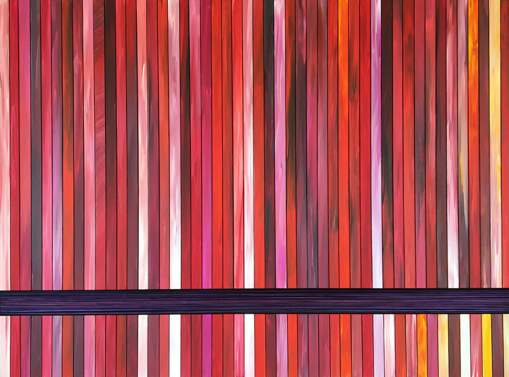 SCARLET STRATIFICATION. ACRYLIC & THREAD ON CANVAS. 48X36. 2017.