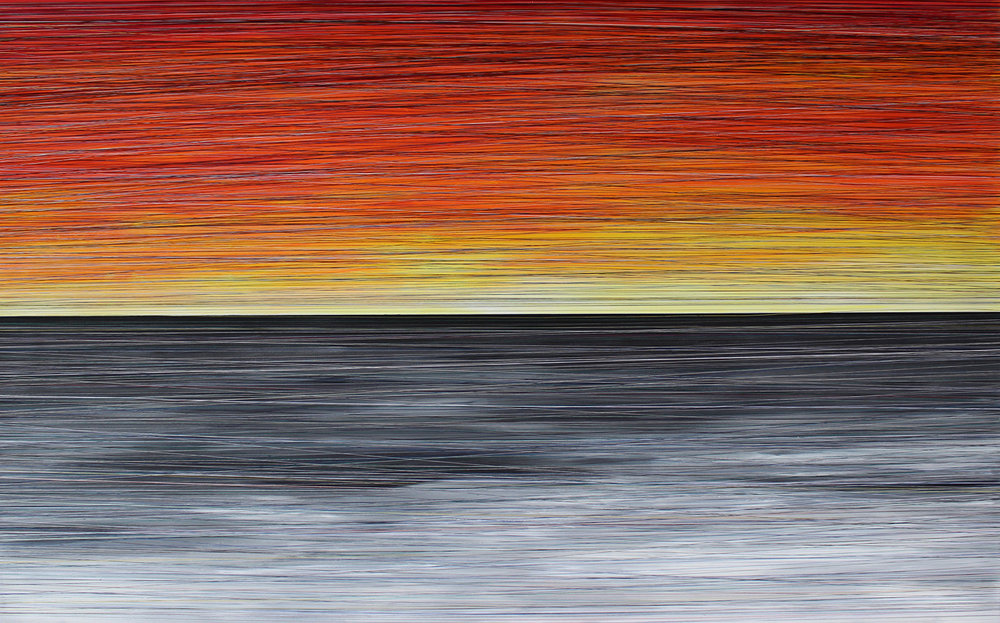 EVENTIDE. ACRYLIC & THREAD ON CANVAS. 48X30. 2016. SOLD.