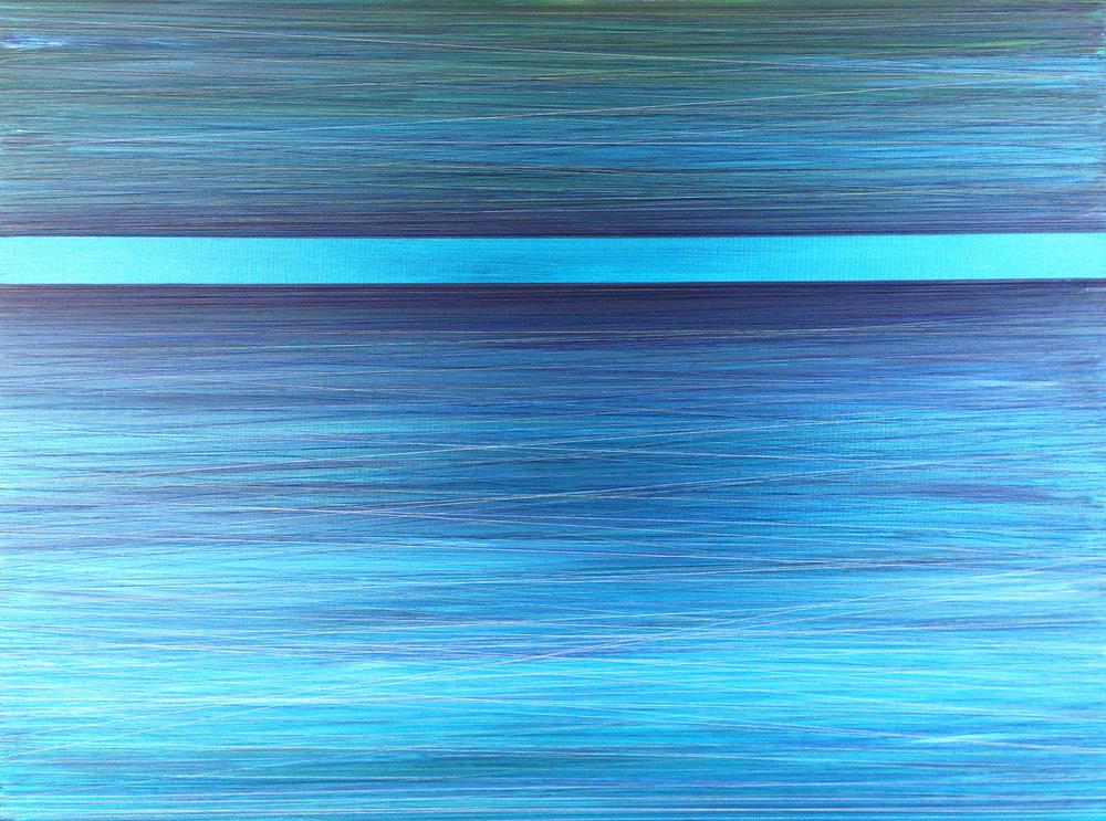 ETHEREAL HORIZON. ACRYLIC & THREAD ON CANVAS. 48X36. 2014. SOLD.