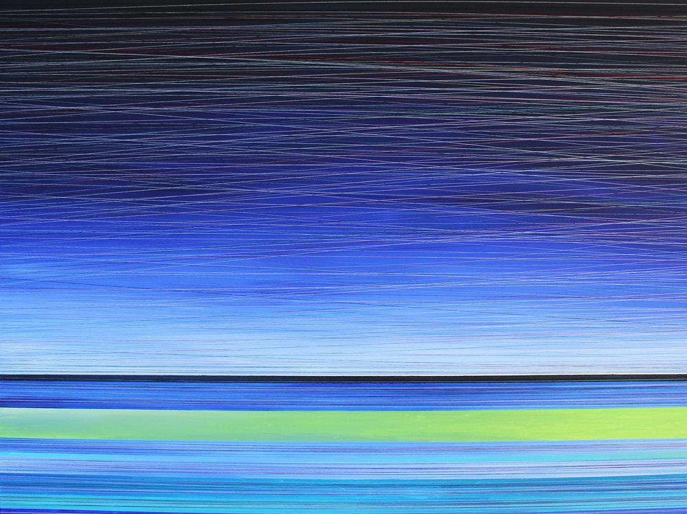 ETHEREAL TWILIGHT. ACRYLIC & THREAD ON CANVAS. 48X36. 2015. SOLD.