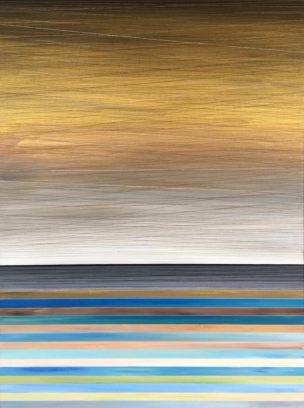 ETHEREAL LUMINOSITY 3. ACRYLIC & THREAD ON CANVAS. 36X48. 2017.
