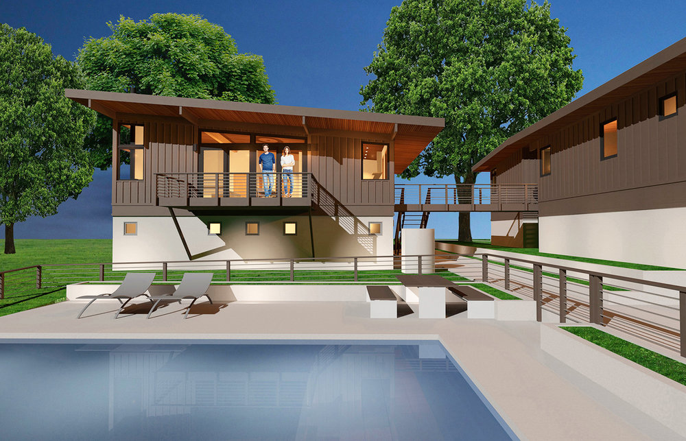 VIEW OVER THE POOL TO THE PROPOSED CARRIAGE HOUSE.