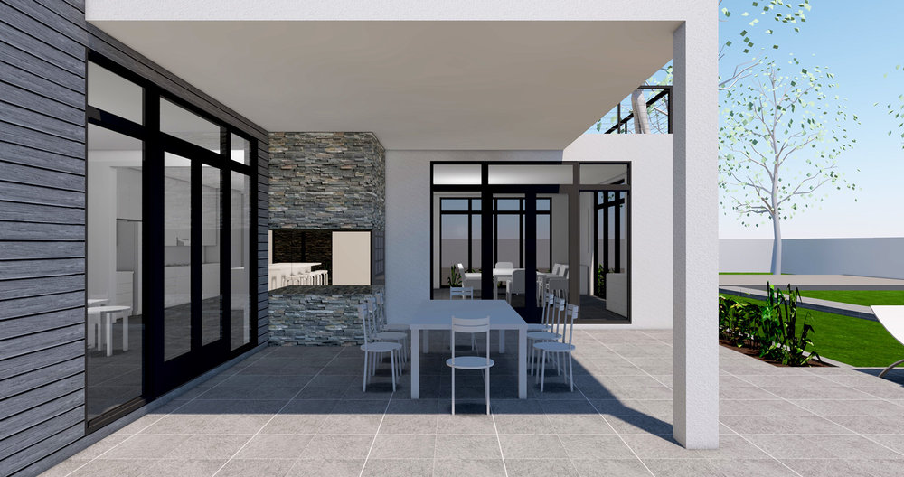 OUTDOOR DINING WITH INDOOR/OUTDOOR FIREPLACE ADJACENT
