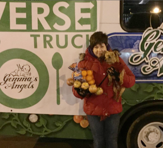 Derry Township resident Marie Sirkot along with her trusty pal visited the Reverse Food Truck at Hershey New Year's Eve Celebration and dropped off a large bunch of beautiful fruit!