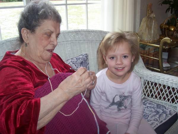 Nonna crocheting Zane Lianas blankets Feb 2007.jpg