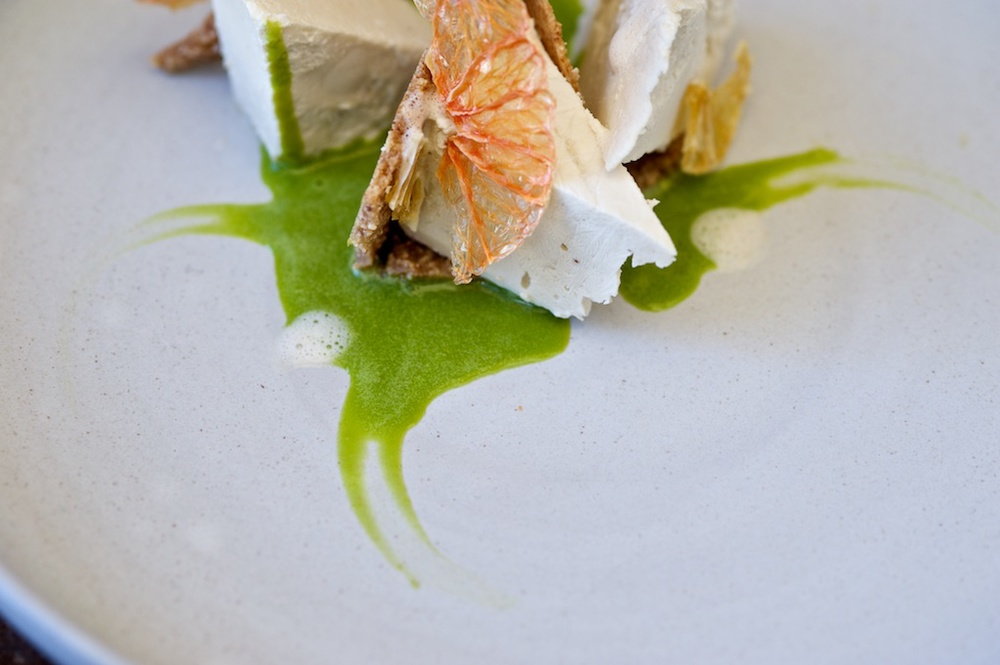 lime cheesecake with cola foam