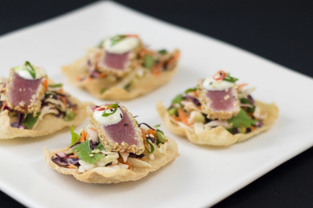Seared ahi tuna on a wonton crisp jillian rae cooks for Where can i buy canape cups