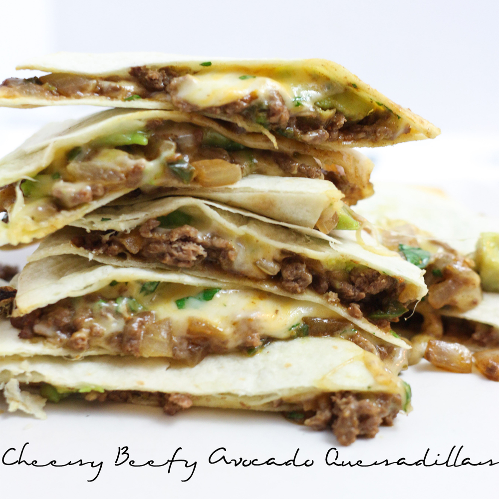 Cheesy Beefy Avocado Quesadillas