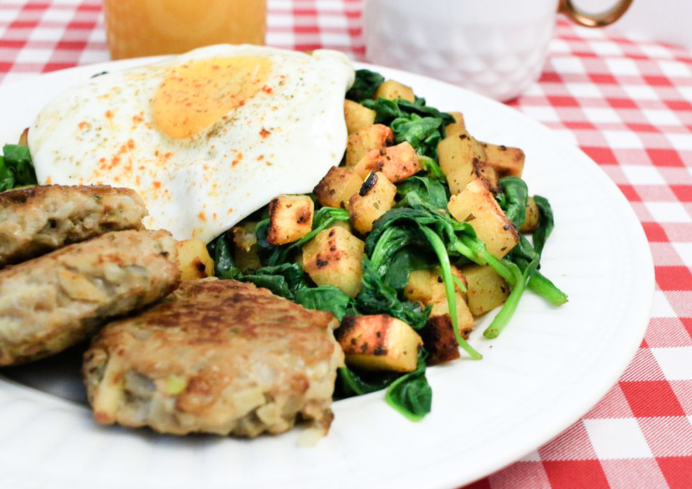 Hashbrowns with Sautéed Spinach