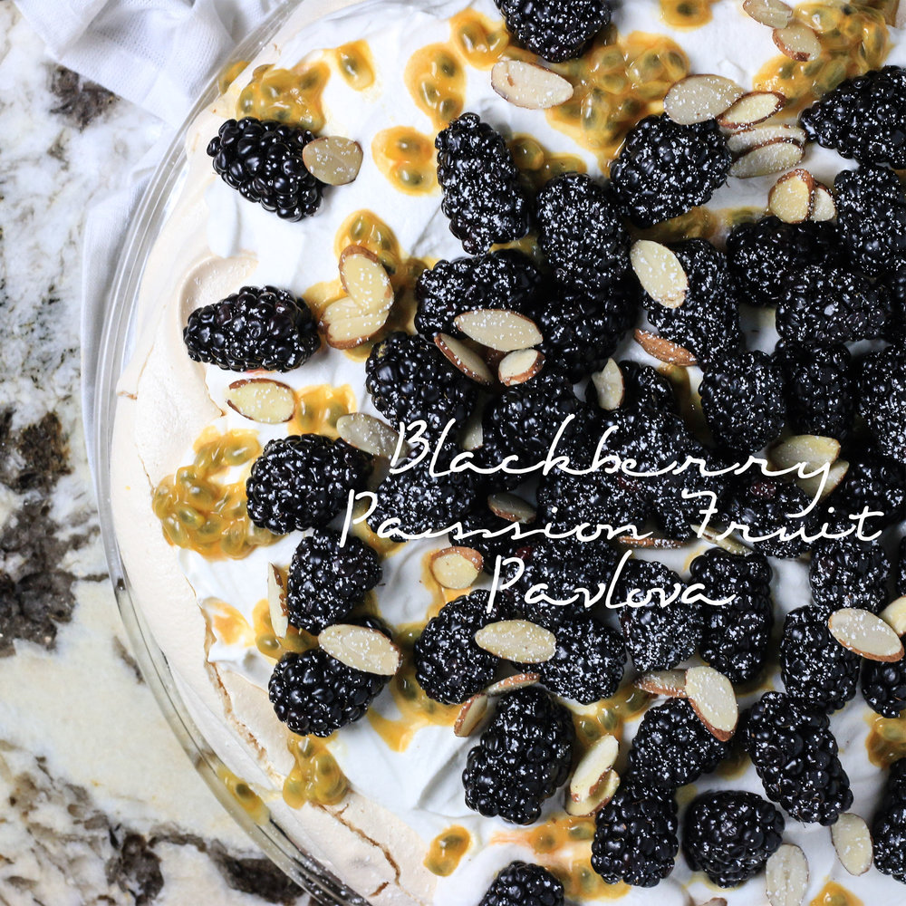 Blackberry Passion Fruit Pavlova
