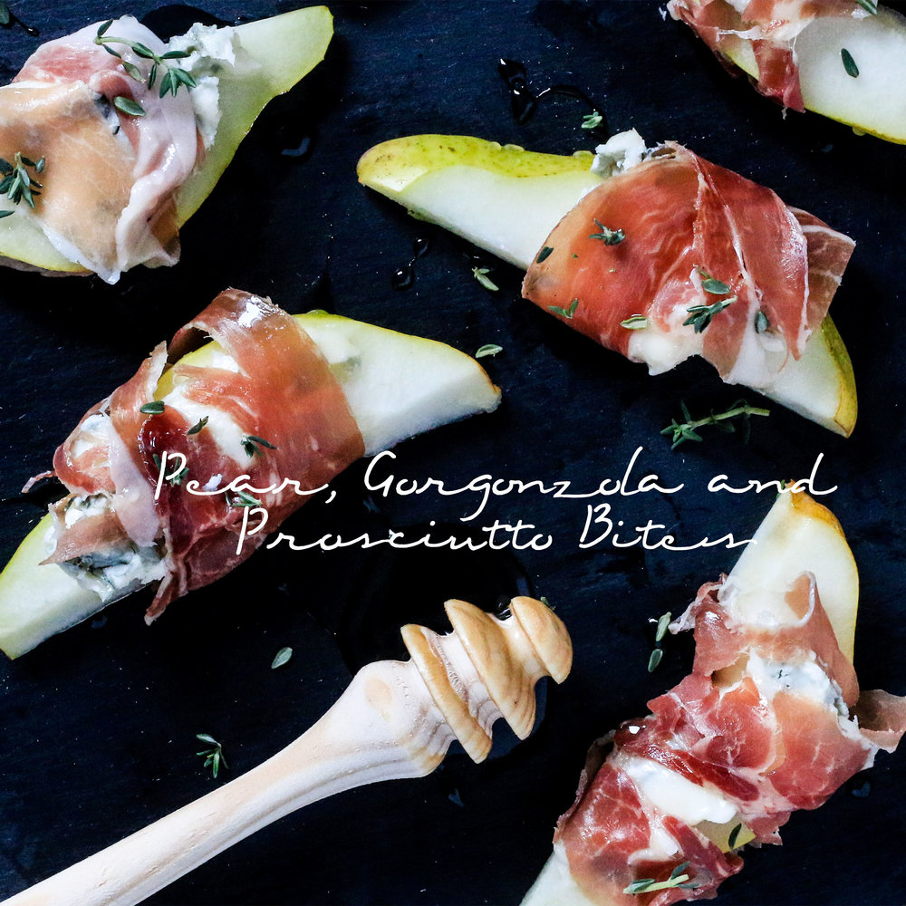 Pear Gorgonzola and Prosciutto Bites