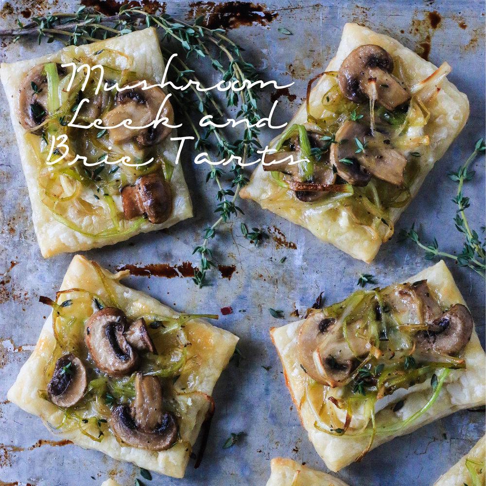 Mushroom Leek and Brie Tarts