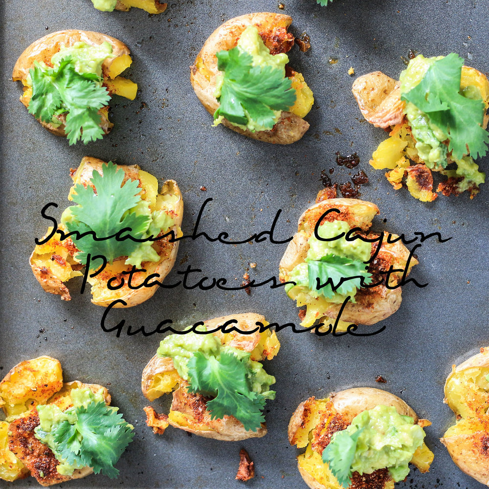 Smashed Cajun Potatoes with Guacamole