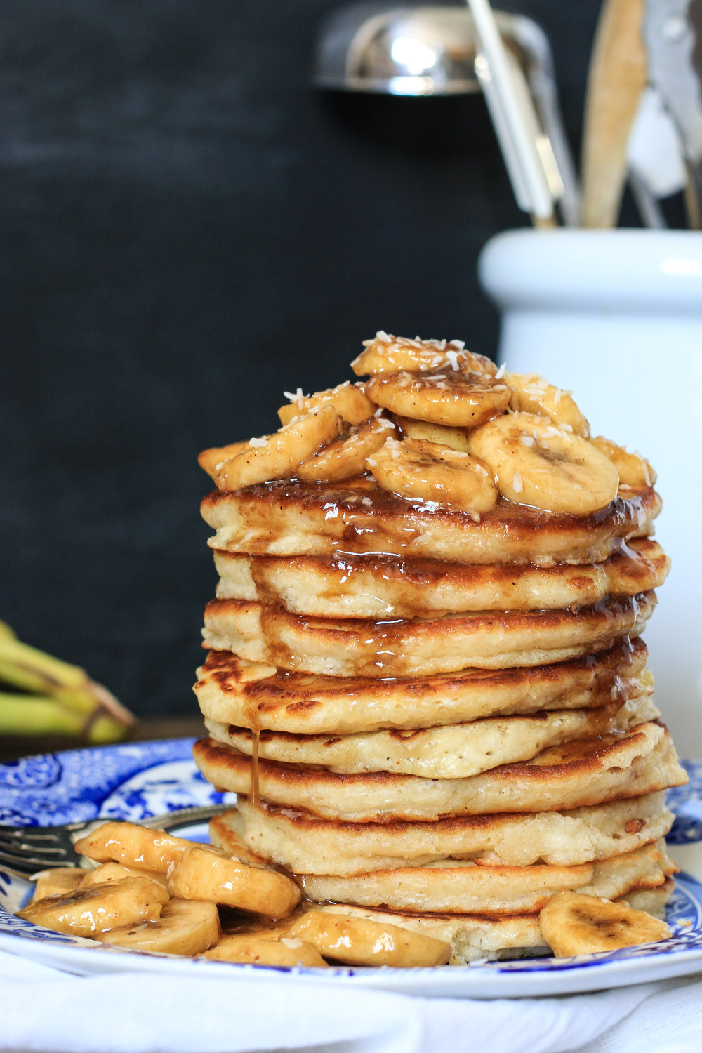 Fluffy Coconut Pancakes with Bananas Foster