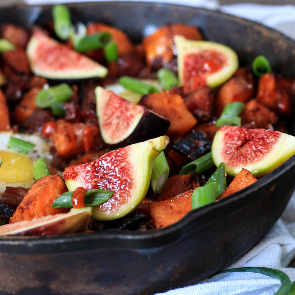 Yam and Fresh Fig Skillet with Maple Chili Glaze