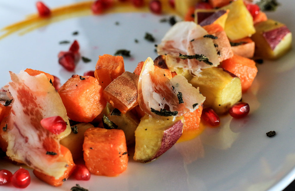 Spiced Sweet Potato Salad with Hazelnuts and Coppa