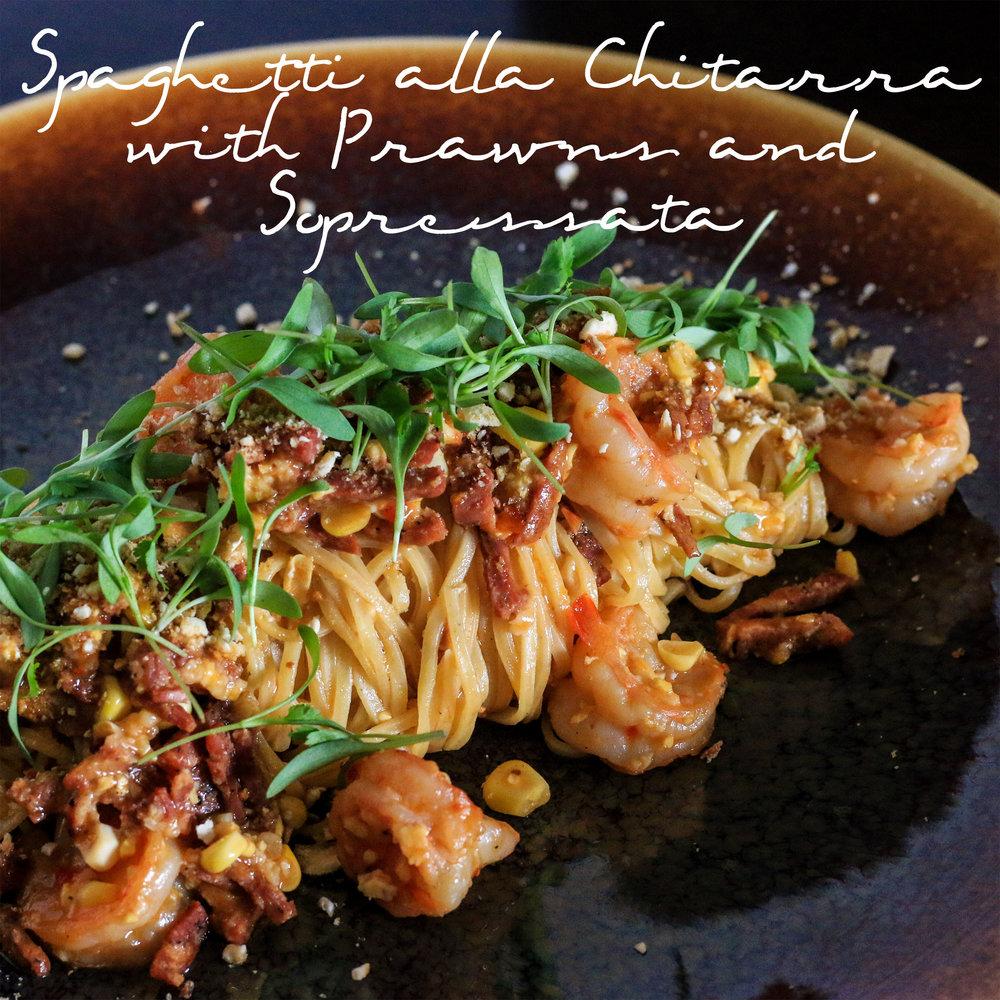 Spaghetti alla Chitarra with Prawns and Sopressata