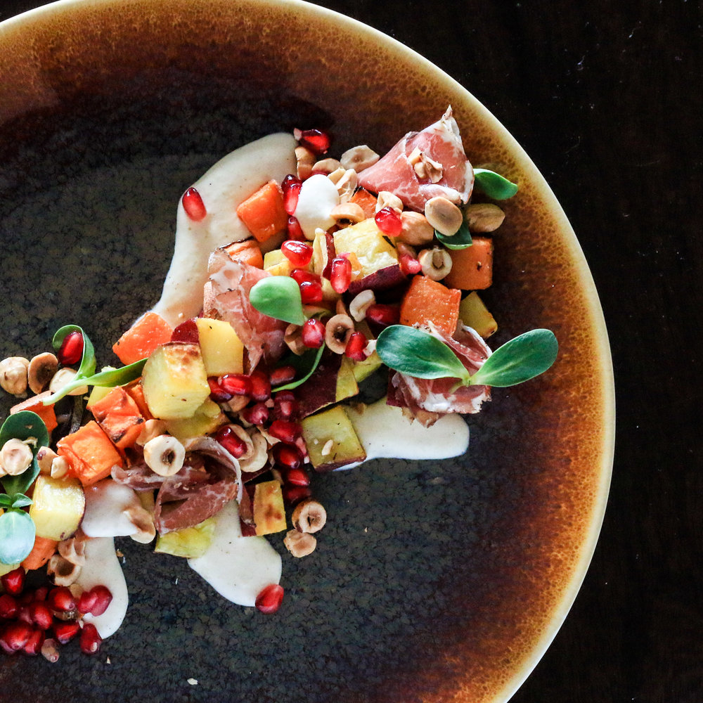 Spiced Sweet Potato Salad with Hazelnuts and Coppa