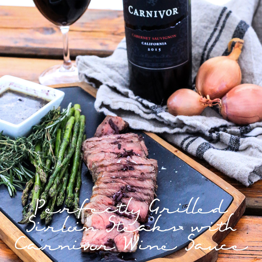Perfectly Grilled Sirloin Steaks with Carnivor Wine Sauce