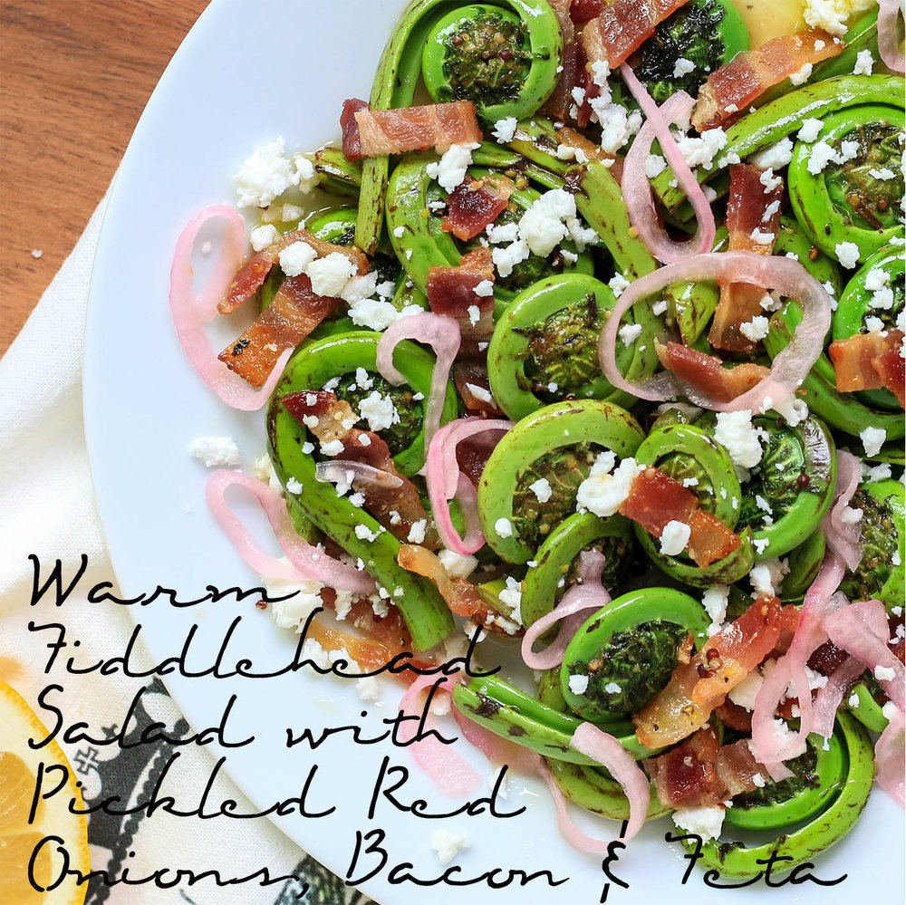 Warm Fiddlehead Salad with Pickled Red Onions, Bacon & Feta