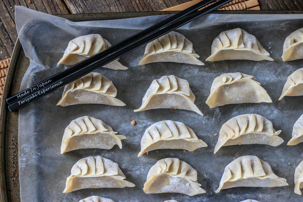 Chicken and Mushroom Potstickers with Sesame Teriyaki Soy Sauce