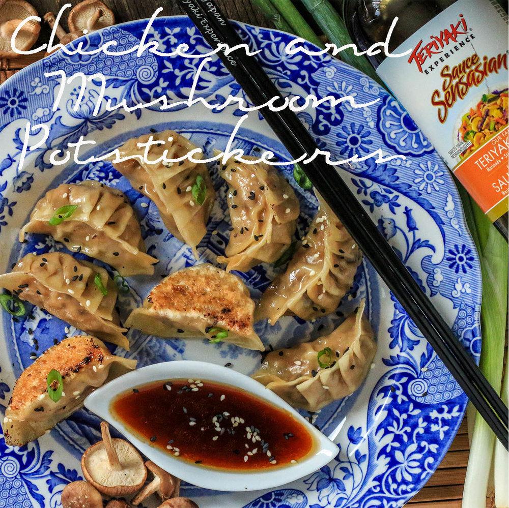Chicken and Mushroom Potstickers with Sesame Teriyaki Sauce