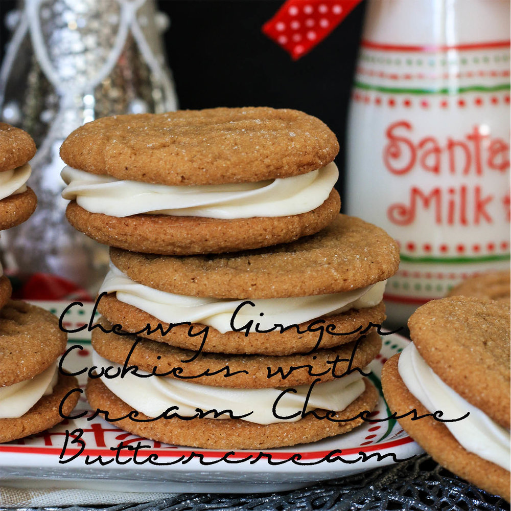 Chewy Ginger Cookies with Cream Cheese Buttercream Icing