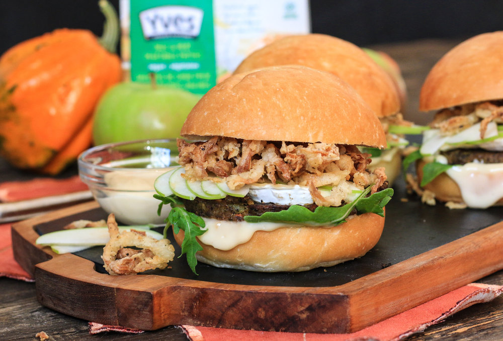 Fall Veggie Burgers with Apples, Brie & Crispy Onions