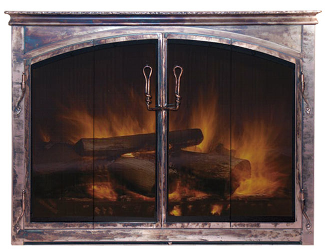 Arched Glass Fireplace Doors arched glass fireplace doors hammer textured frame a with