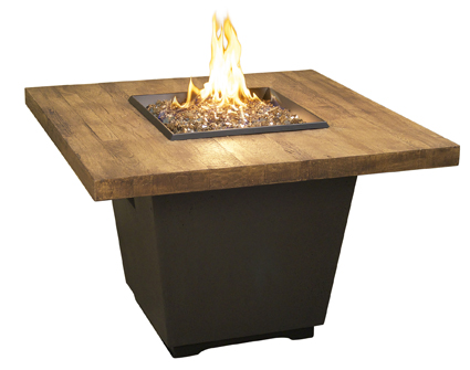 "36"" square french barrel oak fire table"