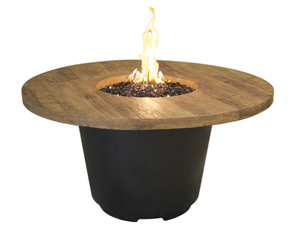 "48""  round french barrel oak fire table"