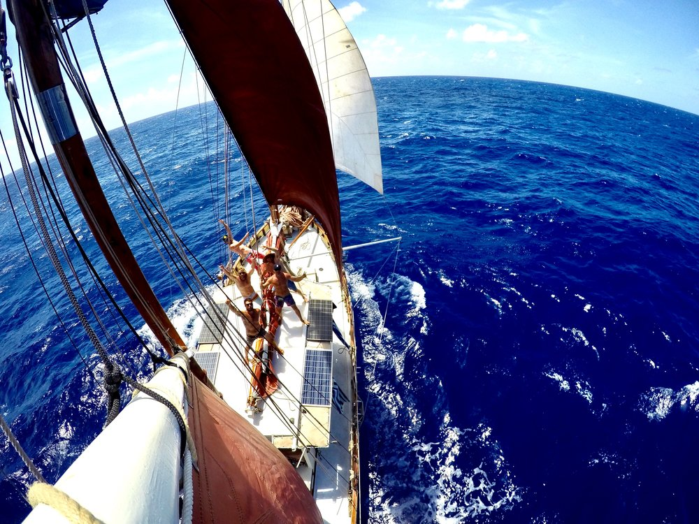 """Spielbergs' idea for a GoPro mount on the Mizzen gaff sail was a winner."