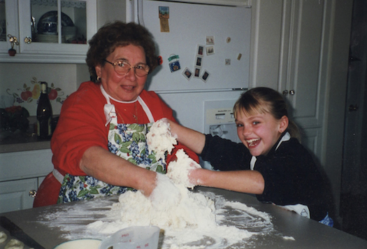 Grandma and me, making a mess.