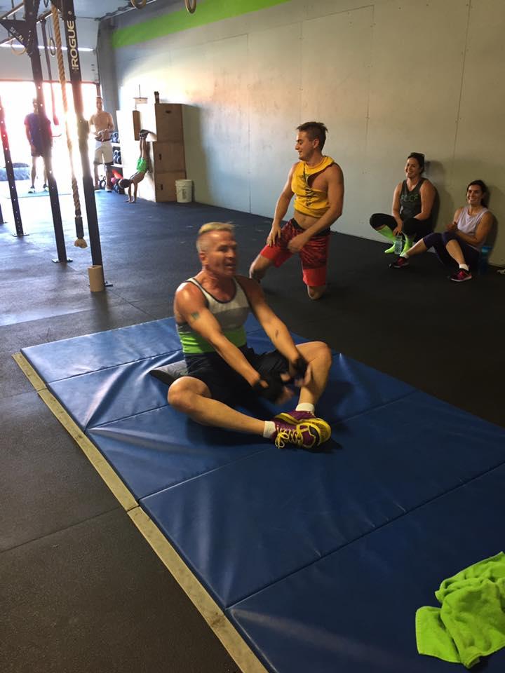 Aidan enjoying some Birthday Sit-ups as part of his 50th Birthday WOD ...