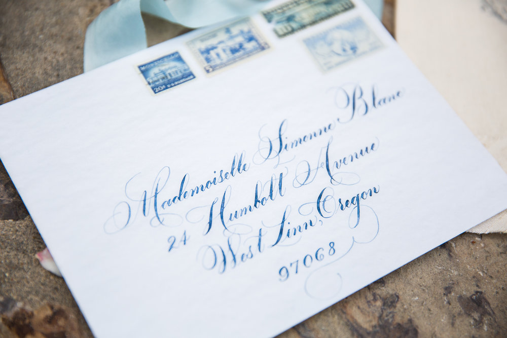 LuxeCalligraphyWeddingEnvelopeVintageStamps