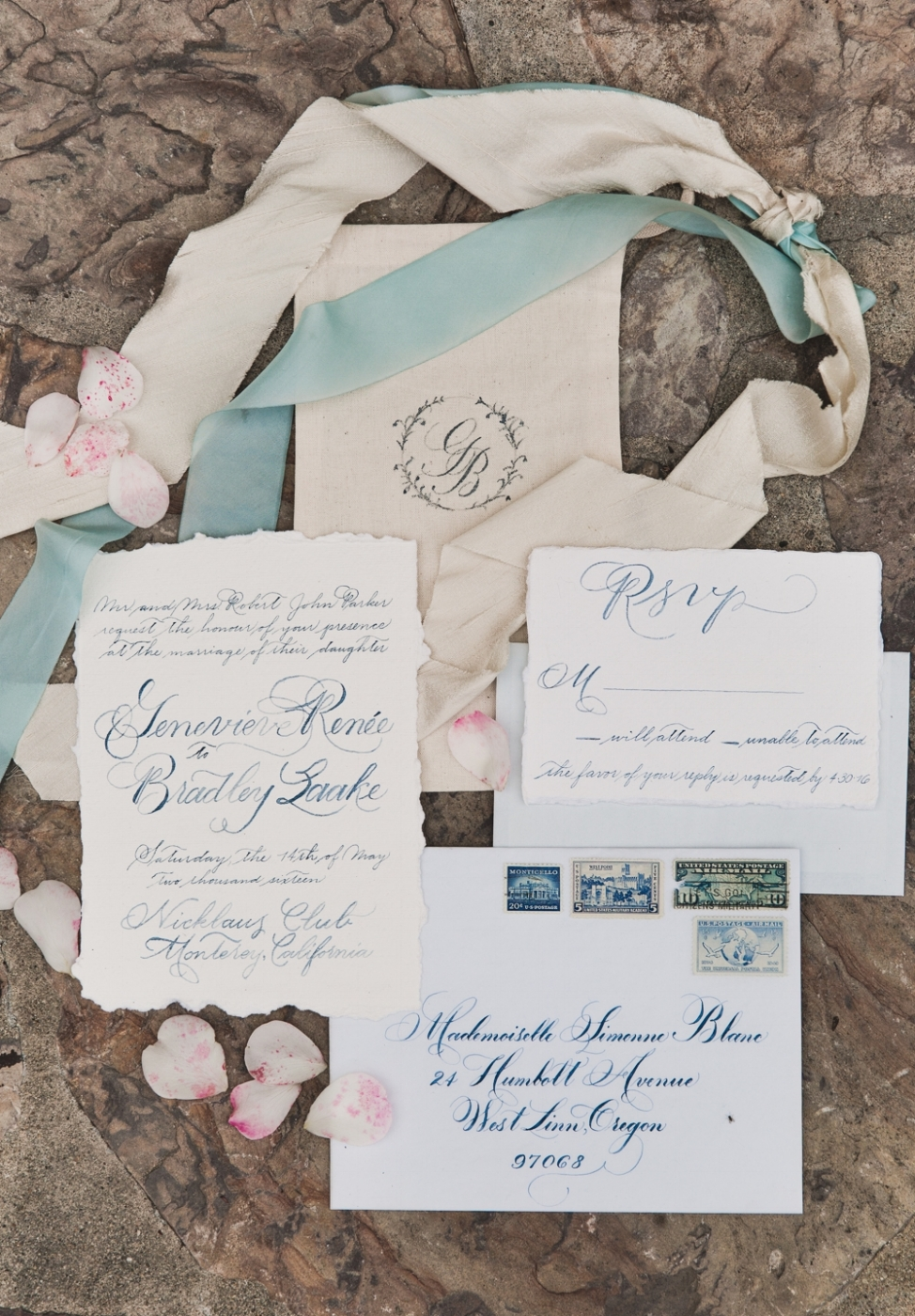 CustomCalligraphyWeddingInvitationSuiteVintageFrenchBlue